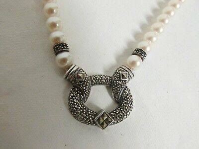Vintage 925 Sterling Silver Marcasite Pearl Necklace
