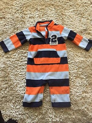 Carter's boys 9 month fleece striped one piece outfit / romper