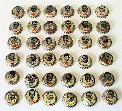 36 COKE & SPRITE  BOTTLE CAPS FOOTBALL PLAYERS LOT WITH CORK BACKING  1960s