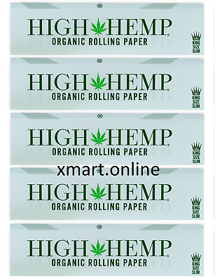 5x Pack Authentic High Hemp (King Size Slim) Organic Rolling Paper 5 Booklets