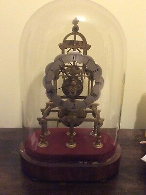 ANTIQUE ENGLISH SKELETON CLOCK 8 day single fusee FINE DIAL & PLATES, glass dome