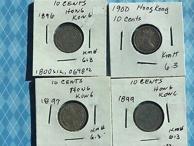 Lot of 4 Hong Kong 10 Cents (km# 6.3), 1896, 1897, 1899 & 1900
