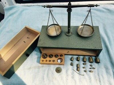 ANTIQUE GERMAN GOLD SCALES    w/ WOOD  CASES & EXTRA WEIGHTS