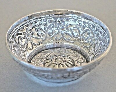 Vintage decorative small french silver repousse bowl dish marked minerva head