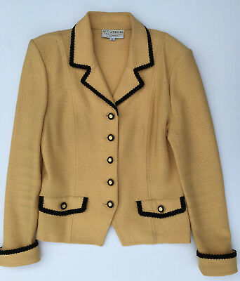 St John Collection by Marie Gray Knit Yellow Jacket,Sz 12