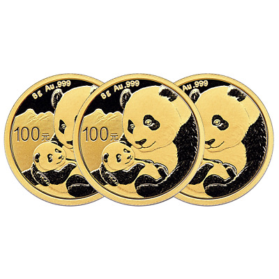 Lot of 3 - 2019 100 Yuan Gold Chinese Panda .999 8g Brilliant Uncirculated Seale