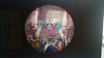 Two Victorian Magic lantern slides one hand painted the other early photo