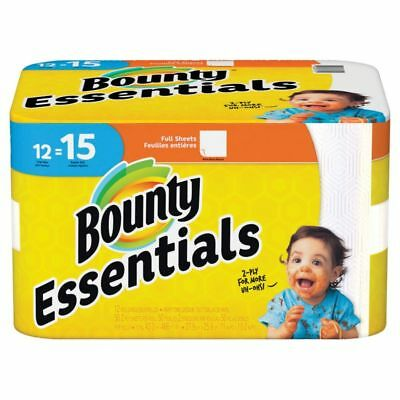 """Bounty Essentials 11"""" x 10 1/4"""" White 2-Ply Paper Towels, 12-Pk"""