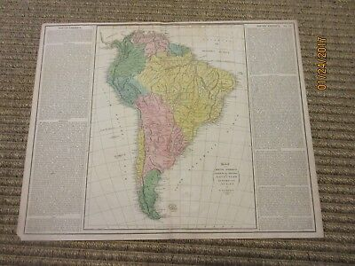 Rare 1821 Lavoisne map of South America, with historical info, handcolored,