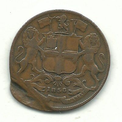 Very Nice Vintage 1858 One Quarter Anna Coin- Minting Error-Gus911