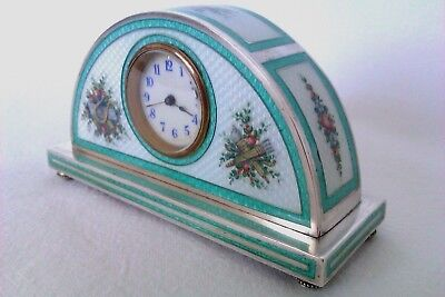 Extremely Rare 950 Solid Silver Enamel Guilloche Austrian Miniature Clock c1869