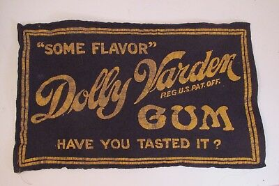 Antique Advertising Wool Sign For Dolly Varden Chewing Gum.Cincinnati Choc.Co NR