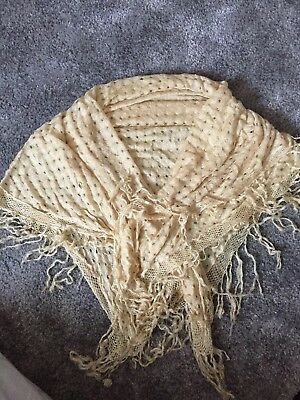 Rare Victorian Vtg Antique Silk Knitted Fringed Shawl 1880s Repair/costume