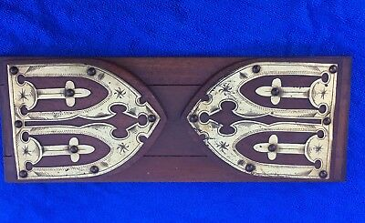 Antique Gothic Style Oak And Brass Book Slide / Holder
