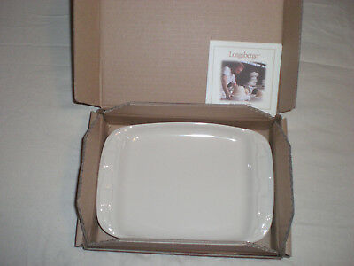 Longaberger Woven Traditions Pottery Vitrified Snack Plate Solid Ivory NIB