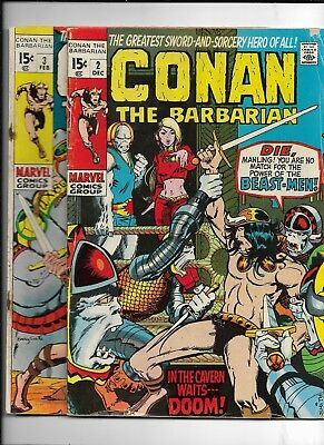 Conan The Barbarian Comic Book Lot #2 & #3 ( Marvel 1970-71) VG