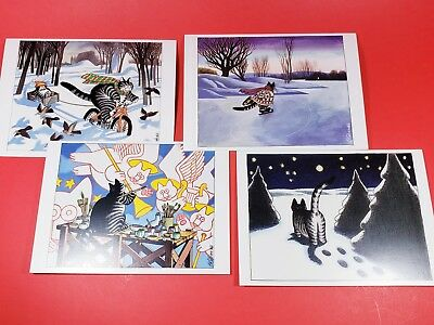 B. KLIBAN CAT Christmas Cards CAT HOLIDAY  set of 4, Pomegranate, kitten, kitty