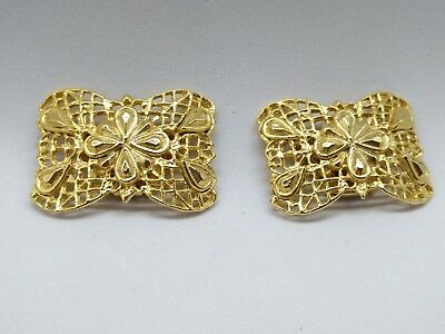 EXQUISITE Vintage MUSI Art Deco Shoe Clips-Stunning Pattern-GOLD TONE