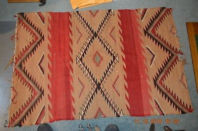 "Old Navajo Rug * 37"" X  53""  Textile Rugs Native American Indian Southwest Vtg."