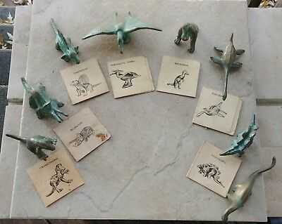 Lot Of 8 Vintage SRG NY Museum Bronze Dinosaur Souvenirs + 3 extra animals