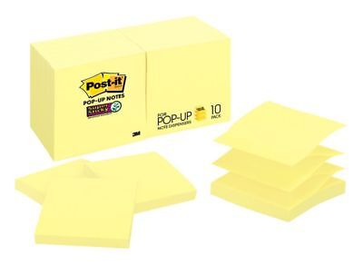 """Post-it® Super Sticky Pop-up Notes, 3"""" x 3"""", Canary Yellow, Pack Of 10 Pads"""
