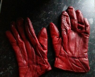 Vintage Leather Gloves Red Tweed Run Driving Fancy dress Re-enactment womens