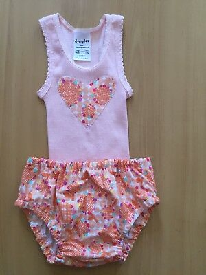 Handmade New Baby Girl Apricot Floral Nappy Cover & Singlet Set Size 0
