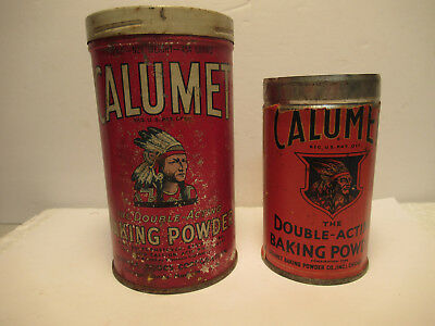 Calumet Vintage Baking Powder Tin Lot Of 2 Old Empty Cans Free USA Shipping