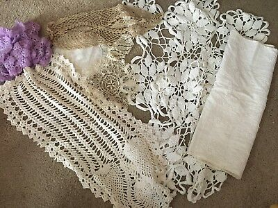 Lot of 26 Pieces of Vintage Hand-Crocheted Doilies/Scraps/Purple Flowers~crafts