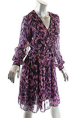 MILLY Purple Hot Pink Silk Blend Surplus Dress with Gold Polka Dots + Sash  US 4