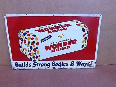 WONDER BREAD Tin Litho Advertising Sign Strong Bodies 8 Ways POP Graphics 1950s