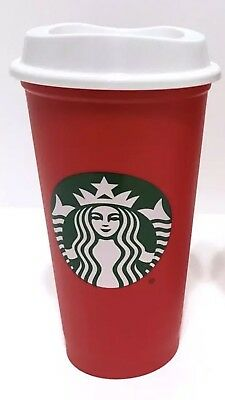 STARBUCKS 2018 Red Reusable Cup 16 oz Plastic Discount Coffee Holiday Xmas NEW