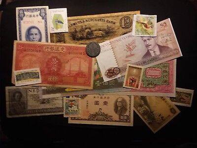 Mixed lot Of World Banknotes, Stamps, Coin And Script