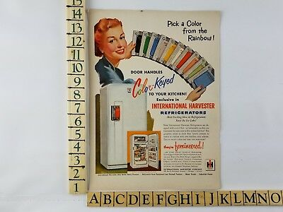 1951 International Harvester Refrigerator Color Keyed Handles Vintage Print Ad