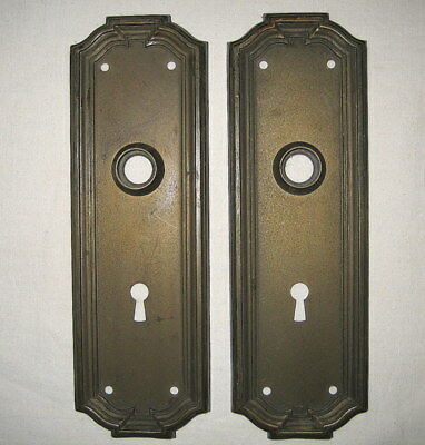 Matching Antique Steel Victorian Edwardian Door Knob Back Plates With Key Holes