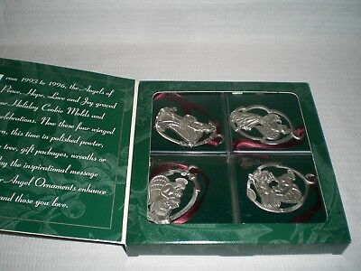 Longaberger Pewter Angel Christmas Tree Ornaments 1998 Collection
