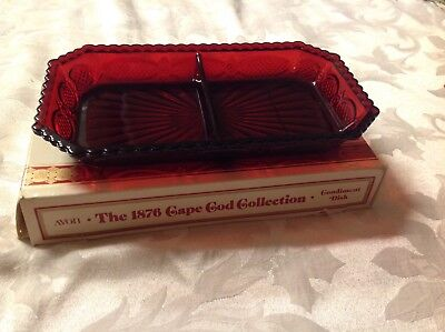 """Avon CAPE COD 1876 Ruby Red Collection - 2 Part Relish """"Condiment Dish Tray NEW"""