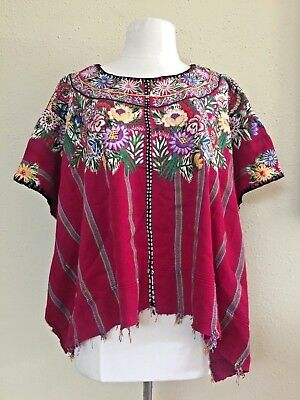 Guatemalan Huipil Hand Woven Vintage Embroidered Floral Blouse Poncho Top