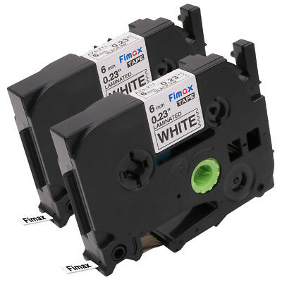 2 PK Label Tapes Compatible for Brother P-Touch TZ211 TZe211 Black on White 6 mm