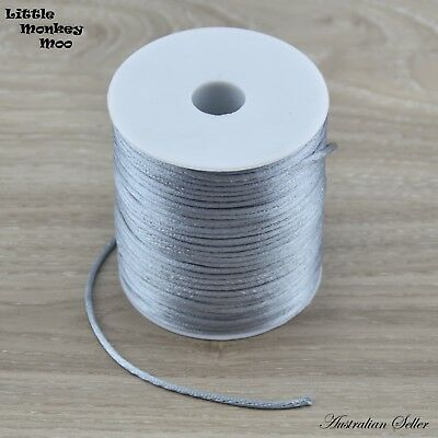 Silver Satin Nylon Cord 1.5mm Teething DIY Necklace Baby Silicone Bead Jewellery