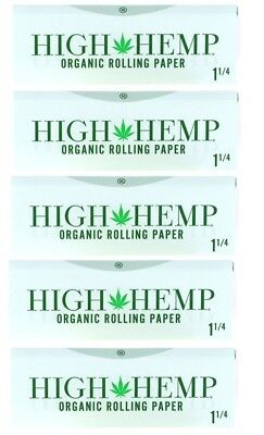 5x Pack Authentic High Hemp 1 1/4 Organic Rolling Paper 5 Booklets