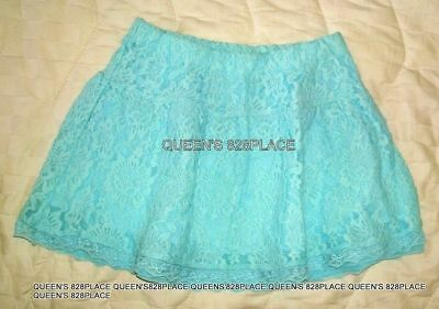 New Ruum Girls size 7 green floral lace Skirt lined elastic Waist Twins new
