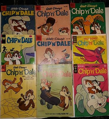 "Silver & Bronze Age Chip ""n"" Dale Comics Lot Of 9 (1957-1979)"