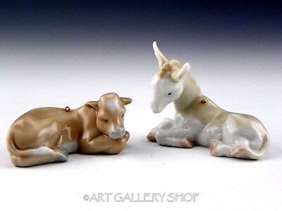 Lladro Mini Christmas Ornaments Figurines COW & DONKEY Retired Mint