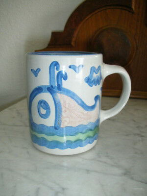 M. A. Hadley Pottery Coffee Cup Mug Hand Painted Signed - Home Cottage WHALE