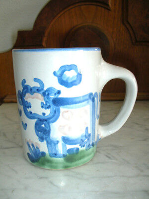 M. A. Hadley Pottery Coffee Cup Mug Hand Painted Signed - Home Cottage COW