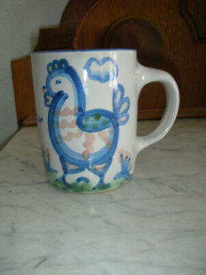 M. A. Hadley Pottery Coffee Cup Mug Hand Painted Signed - Home Cottage CHICKEN