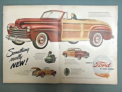 Vintage Ad 1946 Ford Sportsman's Convertible Woody V-8   X-Large Ad-Read  Decor