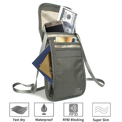 RFID Blocking Passport Holder Neck Stash Pouch Security Travel Wallet Grey,Black
