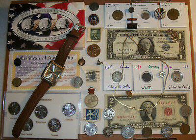 Junk Drawer Lot- Old Coins Found- Silver Certificate, 2 Dollar Red Seal. Buffalo